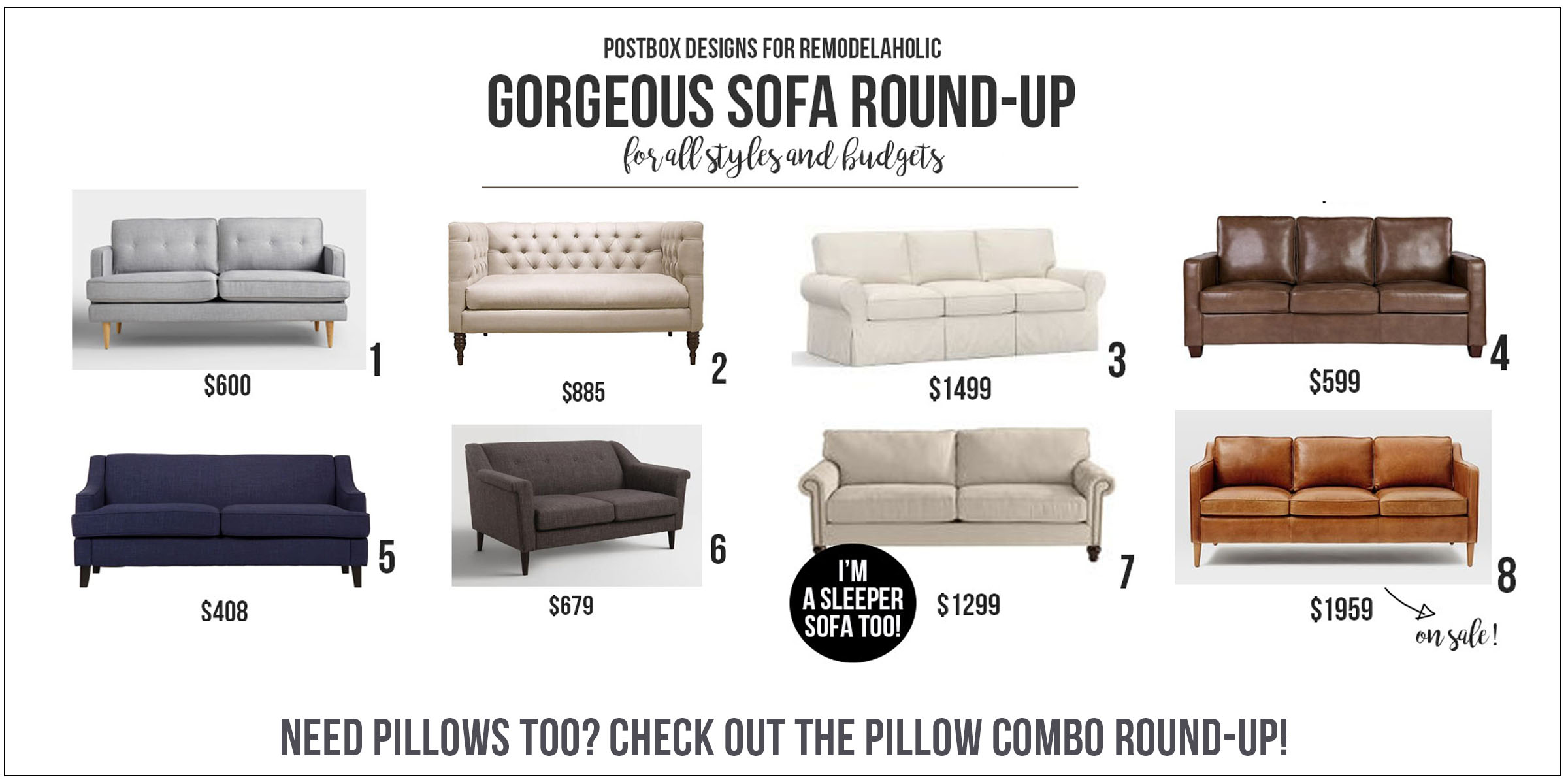 Sofa Round Up by Postbox Designs E-Design