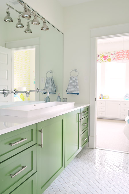 Bold Colorful Bathroom Inspiration | Green Vanity