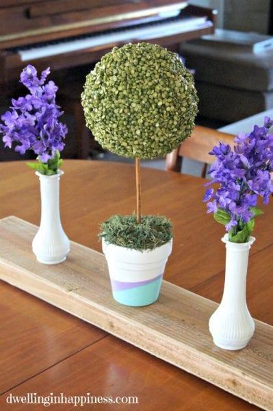 Split Pea Topiary As Centerpiece