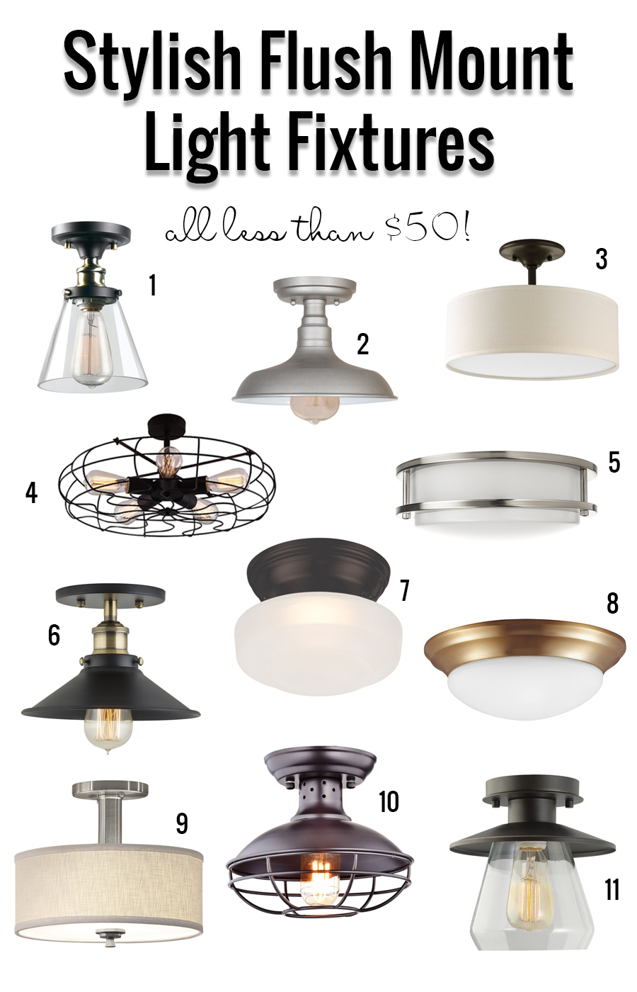 Remodelaholic Stylish Flush Mount Light Fixtures Under 50