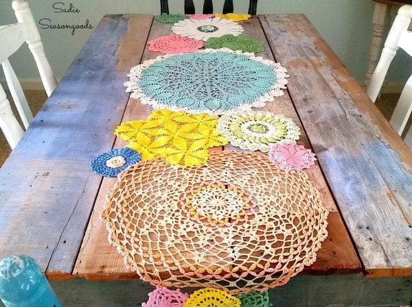 Vintage Crochet Doilies Dyed Spring Colors And Repurposed Into DIY Table Runner By Sadie Seasongoods