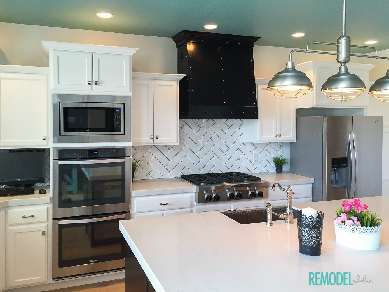 Get this look park house with oak kitchen cabinets - Aqua White Kitchen 2 Get This Look