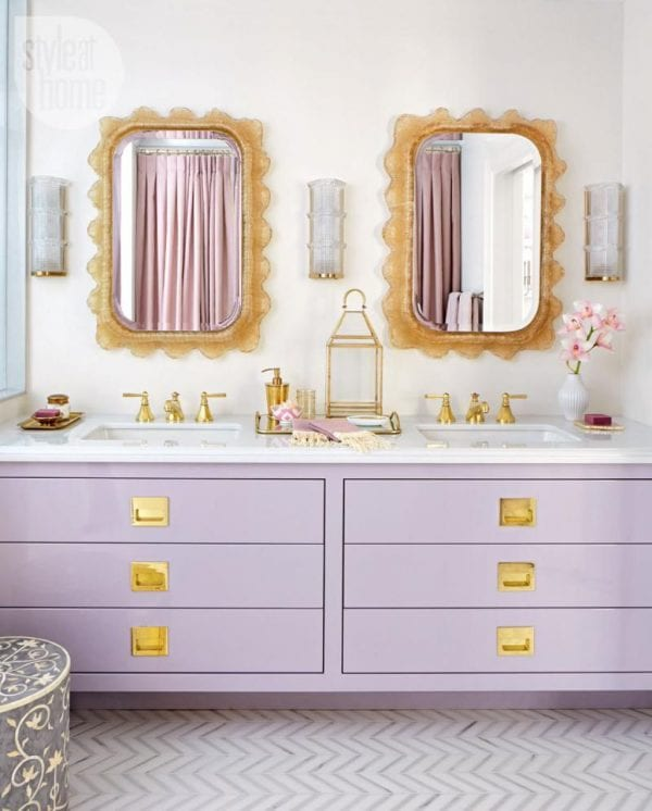 Vintage Bold Colorful Bathroom Inspiration Bathroom Vanity With Purple Drawers And Golden Knobs Feature Undermount Bathroom