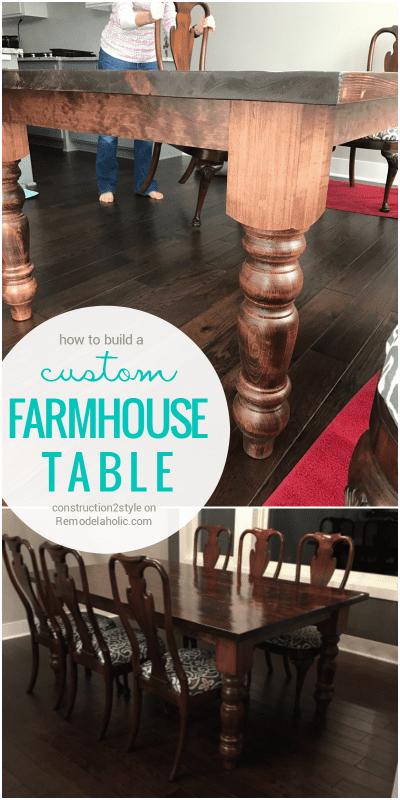 Custom Farmhouse Style Table DIY Tutorial | Build a farmhouse table | DIY Farmhouse Furniture | Remodelaholic.com