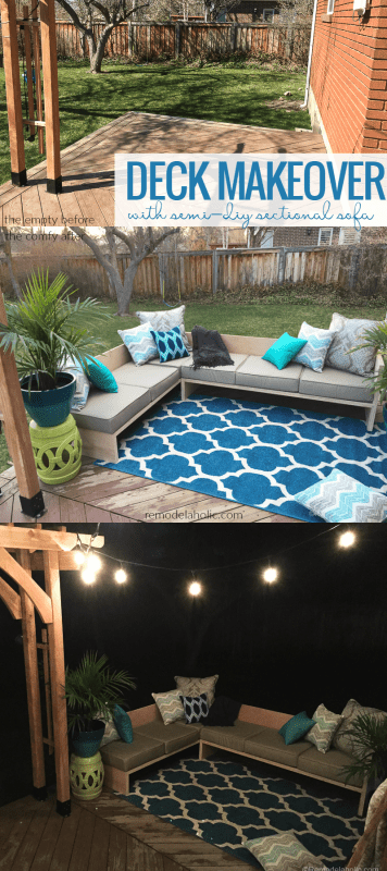 Deck Makeover With DIY Outdoor Sectional Sofa Using Cushions From The Better Homes And Gardens Line at Walmart by @Remodelaholic