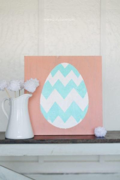 Easy Spring Easter Egg Sign Decor