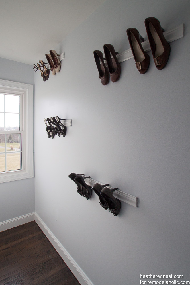 Create some inexpensive trim molding shoe storage to turn your collection of beautiful heeled shoes into a fashionista gallery wall! Step by step DIY tutorial
