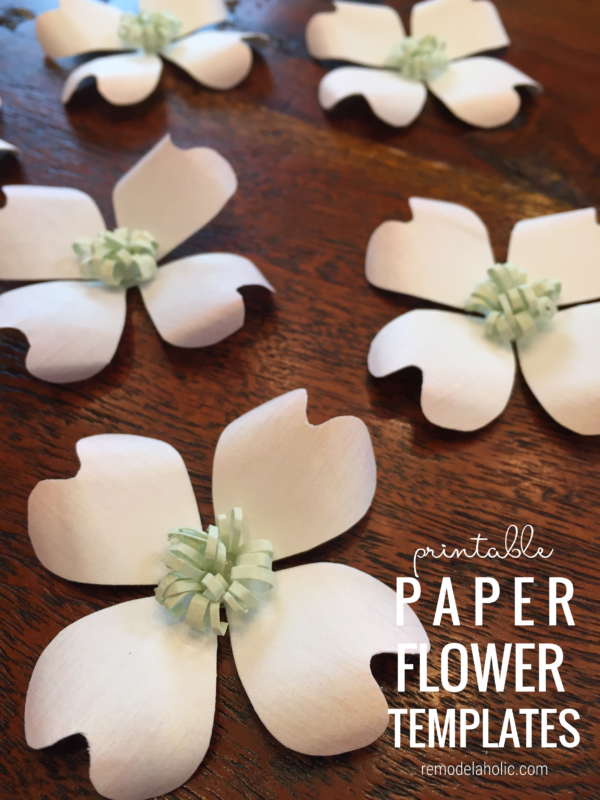 Printable Paper Flower Templates For Pink Yellow White Dogwood Flowers, Remodelaholic