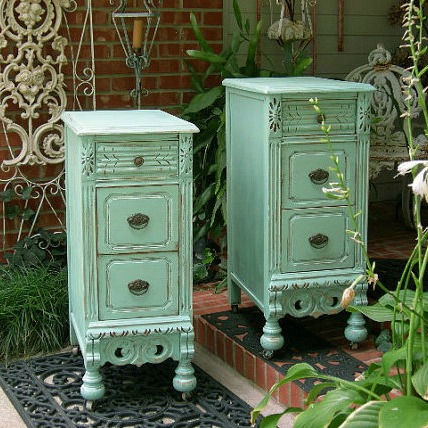 Shabby Chic Mid Century Nightstands