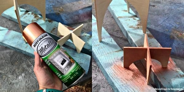 Spray Painting Cross Base Terrarium, MyLove2Create