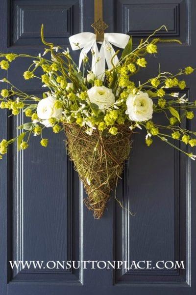 Spring Wreath Door Basket White Green