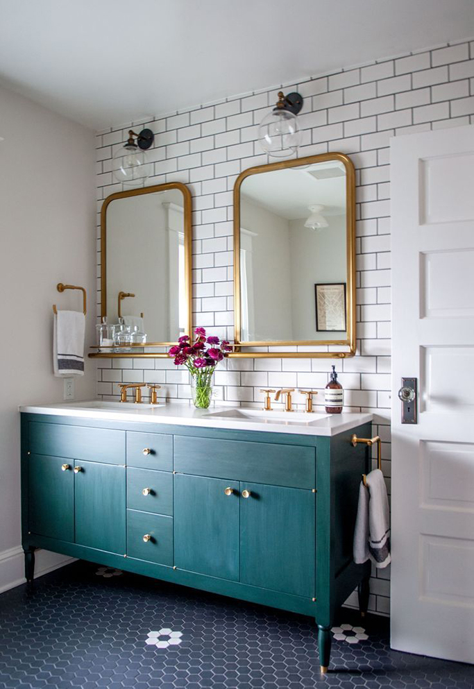 Epic Bold Colorful Bathroom Inspiration White Metro With Black Grout Bathroom