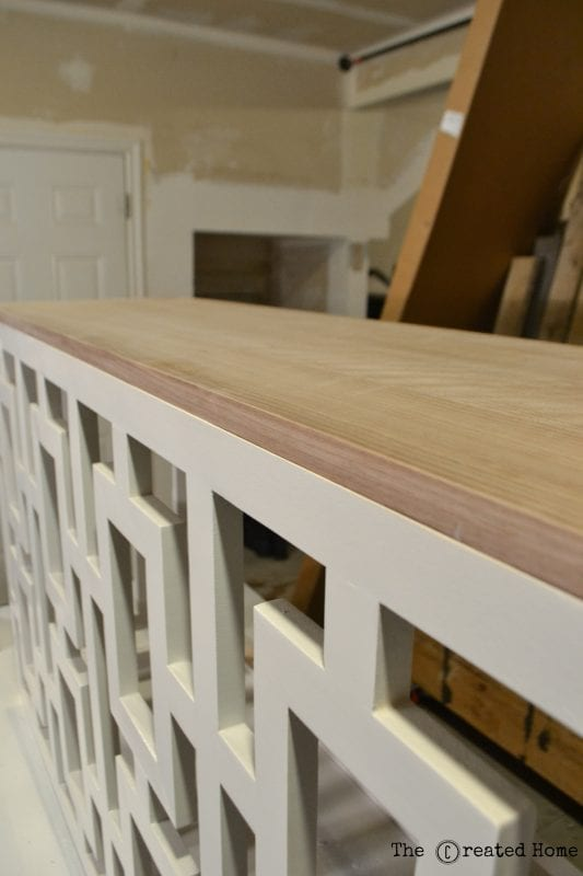 16 DIY Walnut Veneer Plywood Console Table With Fretwork Sides, By The Created Home Featured On @Remodelaholic