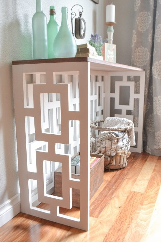 19 DIY Console Table With Fretwork Sides And Walnut Veneer Plywood Top, By The Created Home Featured On @Remodelaholic