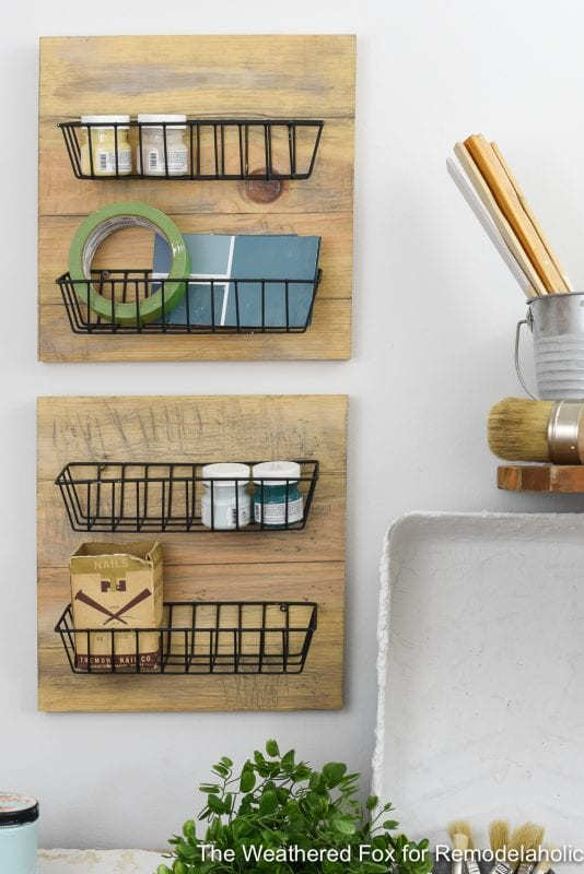 DIY Farmhouse Wall Baskets. Create Farmhouse Style Wall Baskets With Dollar Store Items With This Tutorial. Get This Tutorial From The Weathered Fox On Remodelaholic!