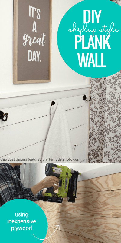 DIY Plywood Shiplap Plank Wall With Towel Hooks   Get a Fixer Upper style farmhouse look on a budget with this easy and inexpensive shiplap plank wall, made from a single sheet of inexpensive plywood.