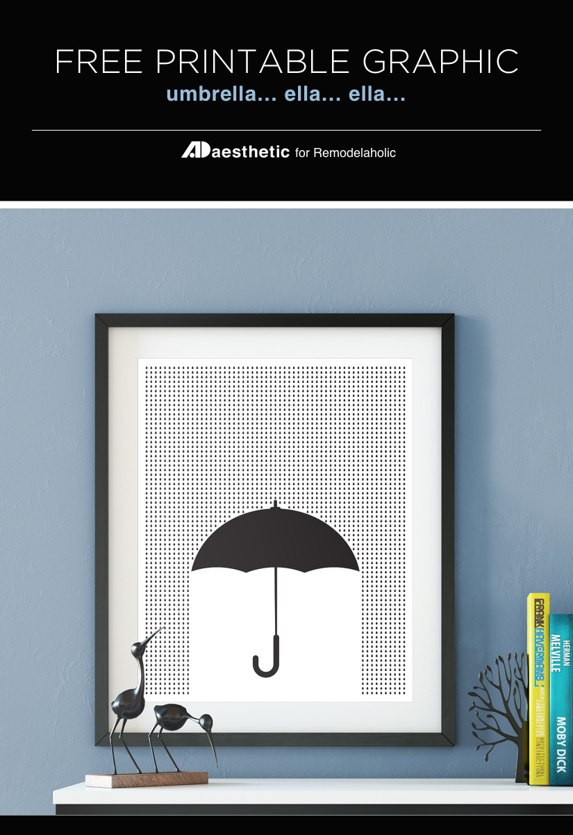 Free Printable: Modern Umbrella Print for Spring | April flowers bring May showers | AD Aesthetic for Remodelaholic.com