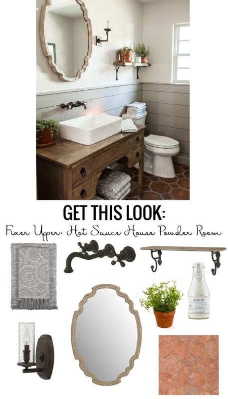 Get the look of the Fixer Upper Hot Sauce House Powder Room. A charming farmhouse bathroom with gray shiplap, terra cotta tile floors, wood accents and greenery.