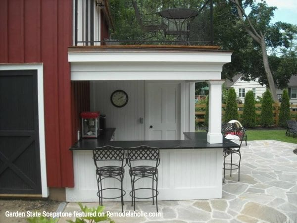 Outdoor Bar With Soapstone Featured On Remodelaholic.com