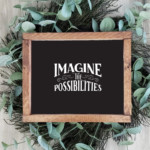 Black And White Printable Wall Art, Quote Imagine The Possibilities, AD Aesthetic Remodelaholic Wm
