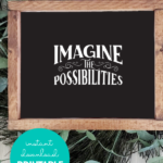 Black And White Printable Wall Art Quote, Imagine The Possibilities, Remodelaholic