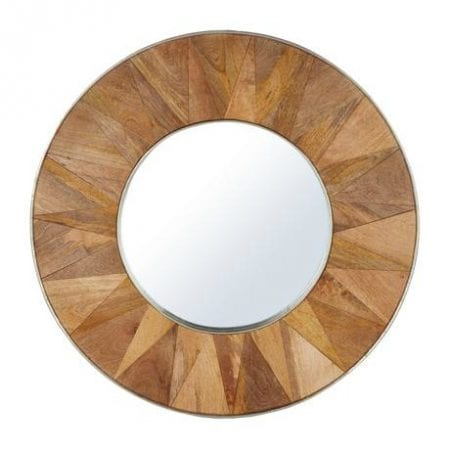 Bold Bathroom Colors 02, Round Wooden Mirror