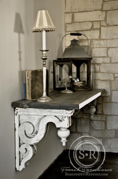 Diy Farmhouse Rustic European Farm Style Foyer Hall Entry Table Make How To Decor Chippy White Gray Limestone Lantern Bird Nest Idea