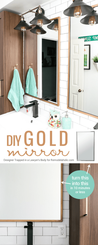 Easily update from stainless steel to a gold mirror frame in just 10 minutes, including an easy way to add patina. This mirror update technique is durable and beautiful!