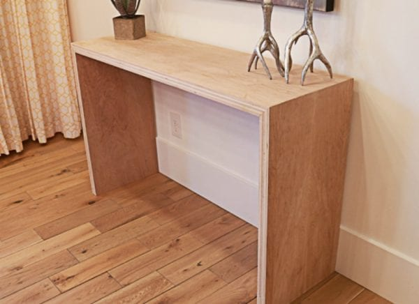 Feat Plywood Waterfall Console Table By Remodelaholic 16