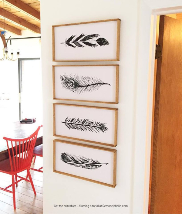 Hand Drawn Feather Wall Art Printables Black And White, Plus How To Mount And Frame Printable Art, Remodelaholic