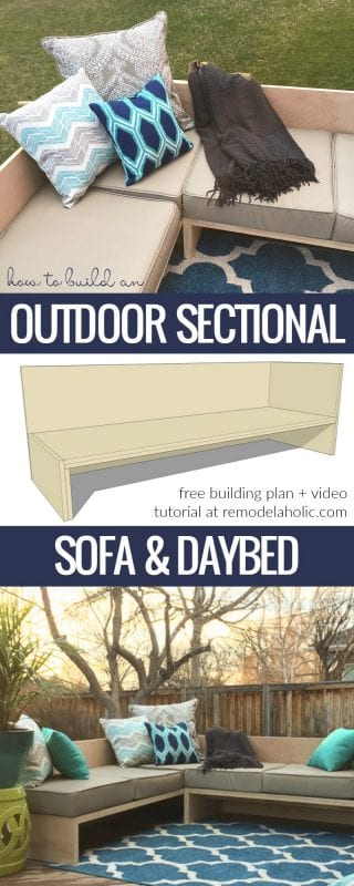 How To Build A Modern Outdoor Sectional Sofa From 2 Sheets Of Plywood @Remodelaholic