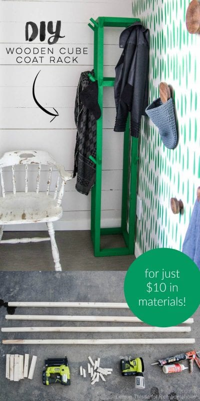 How To Build An Easy DIY Wooden Cube Coat Rack For Just 10 Dollars | Build this kid-friendly coat rack for your entryway to keep coats, jackets, and hats organized and accessible for family and guests