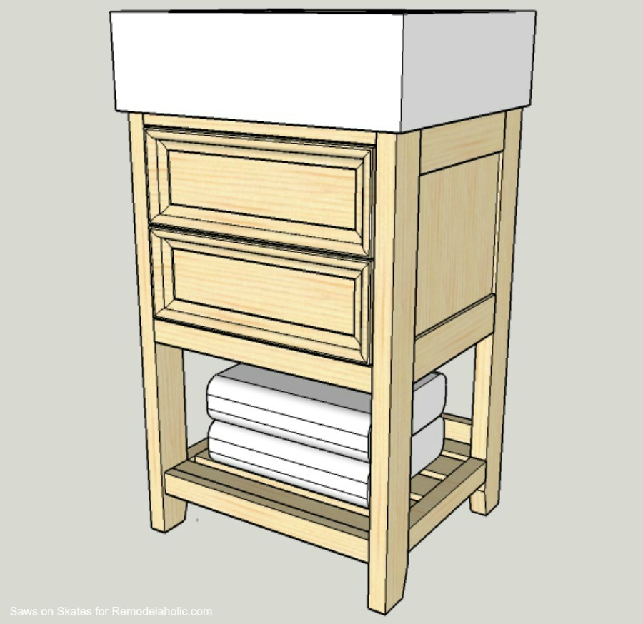 Build A Small Vanity With An Ikea Sink  And It Has Both Open Storage