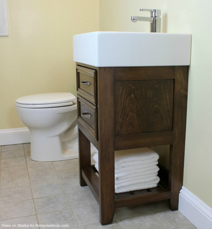 Ikea hack how to build a small diy bathroom vanity for Diy bathroom sink cabinet