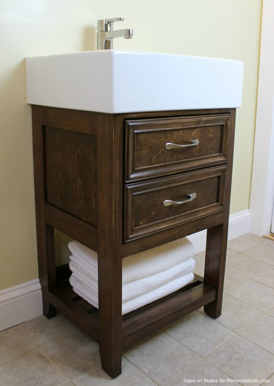 Beautiful Build a small vanity with an IKEA sink and it has both open storage