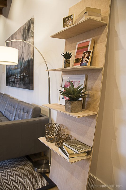 Remodelaholic diy waterfall plywood console table