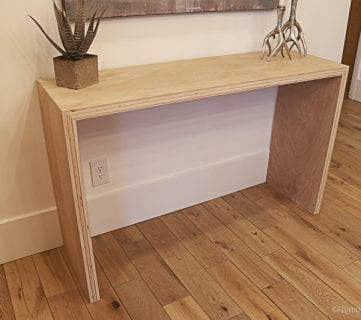 DIY Waterfall Plywood Console Table