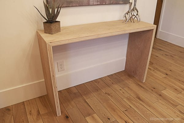 Plybood Waterfall Console Table By Remodelaholic 13