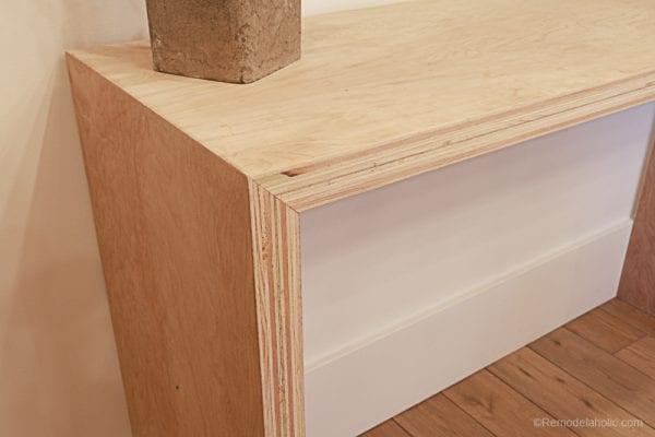 Plybood Waterfall Console Table By Remodelaholic 14
