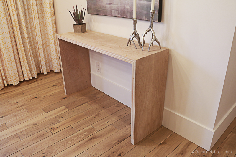 Plybood Waterfall Console Table By Remodelaholic 16
