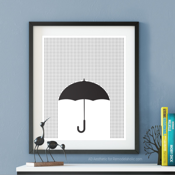 Printable Spring Wall Art, Black And White Umbrella Graphic For Gallery Wall, AD Aesthetic For Remodelaholic