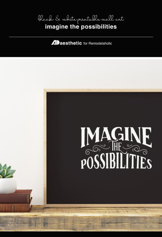 Printable Wall Art Quote Black And White, Imagine The Possibilities, AD Aesthetic For Remodelaholic