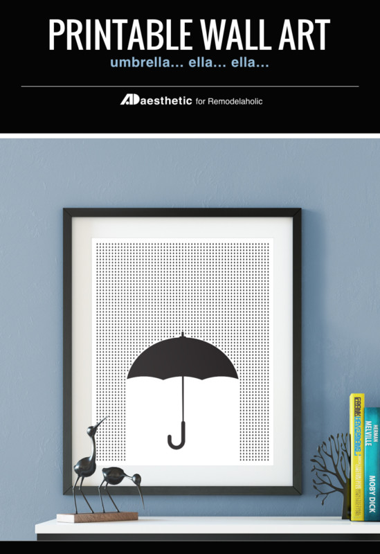 Spring Umbrella Printable Wall Art Black And White Gallery Wall, AD Aesthetic For Remodelaholic
