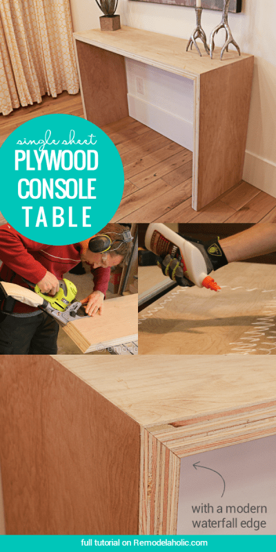 DIY Single Sheet Stacked Plywood Console Table With Modern Waterfall Edge | Free tutorial and building plan #plywoodpretty