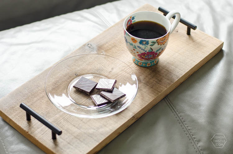 A simple coffee tray using cabinet hardware- plus more project ideas for hardware!