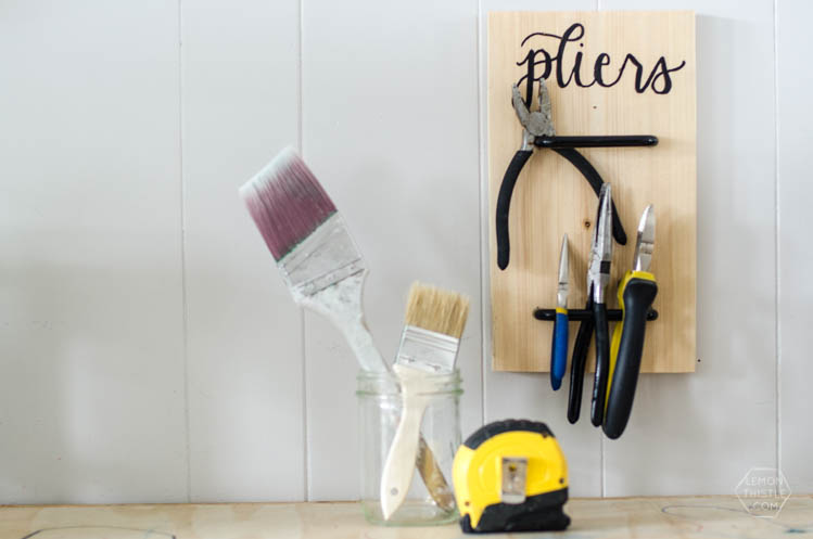Such a cute idea to store tools! A DIY pliers holder made using cabinet pulls. Plus more DIY project ideas using cabinet hardware.