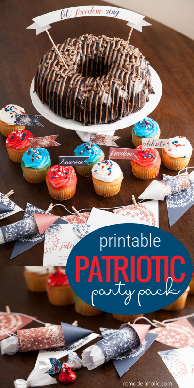 4th Of July Printable Patriotic Party Pack For Summer Parties @Remodelaholic