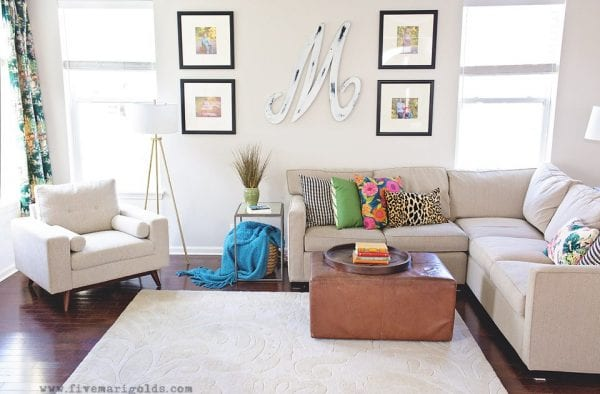 Clean And Colorful Living Room Makeover Reveal One Room Makeover Five Marigolds 99