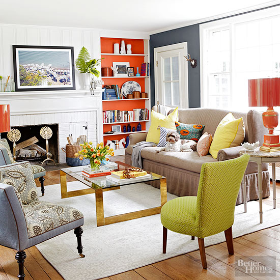 Colorful Living Room With Painted Built Ins Via Better Homes & Gardens