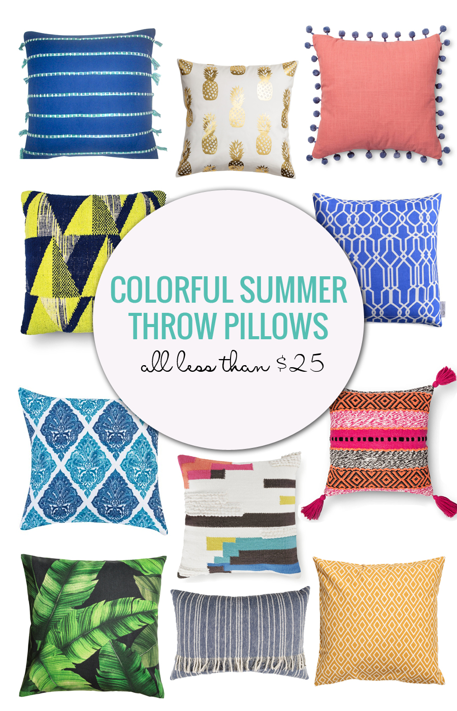 Colorful Summer Throw Pillows Under $25